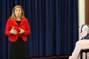 Lori Garver, Deputy Administrator of NASA speaks with TechGirl participants at White House.