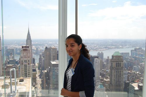Safaa Berkani perches high above the skyline in New York City.