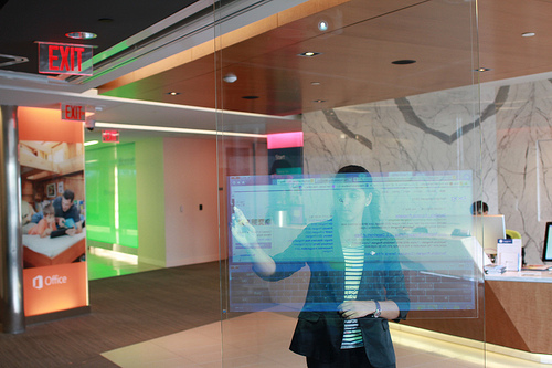 Safaa Berkani checks out the latest technology at Microsoft in New York City.