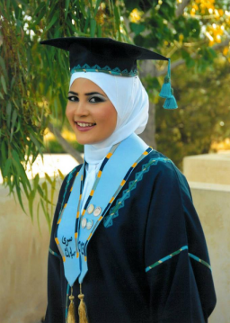 Sura Mubarak at her graduation from the Jubilee School in Amman, Jordan